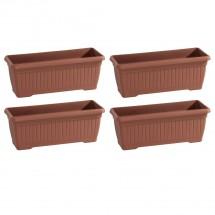 Kunststoff Balkonkasten 4er-Set terracottarben