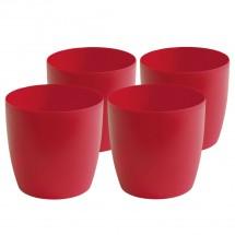Kunststoff Pflanzgefäß  4-er-Set rot