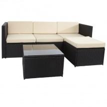 Loungegruppe Polyrattan 13-teilig schwarz